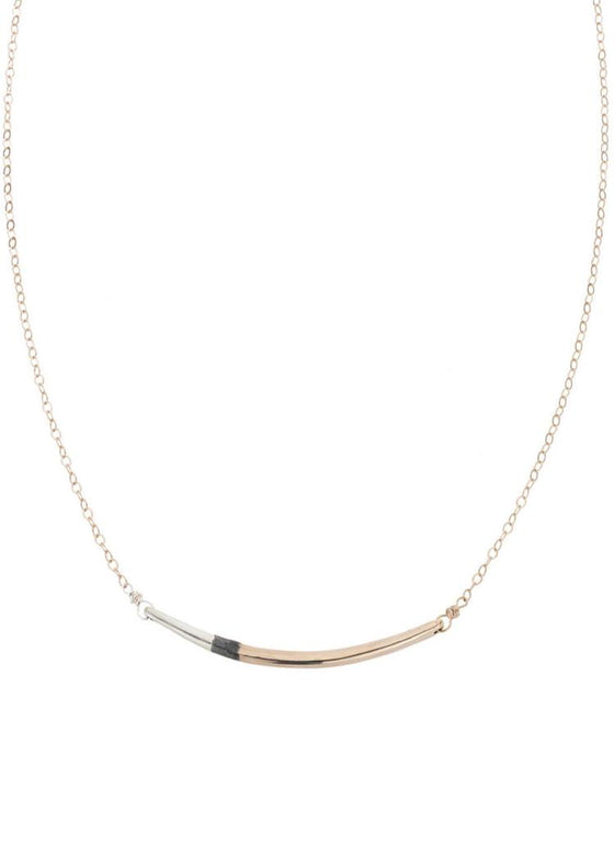 Tri-Toned Arc Necklace + Gold Chain