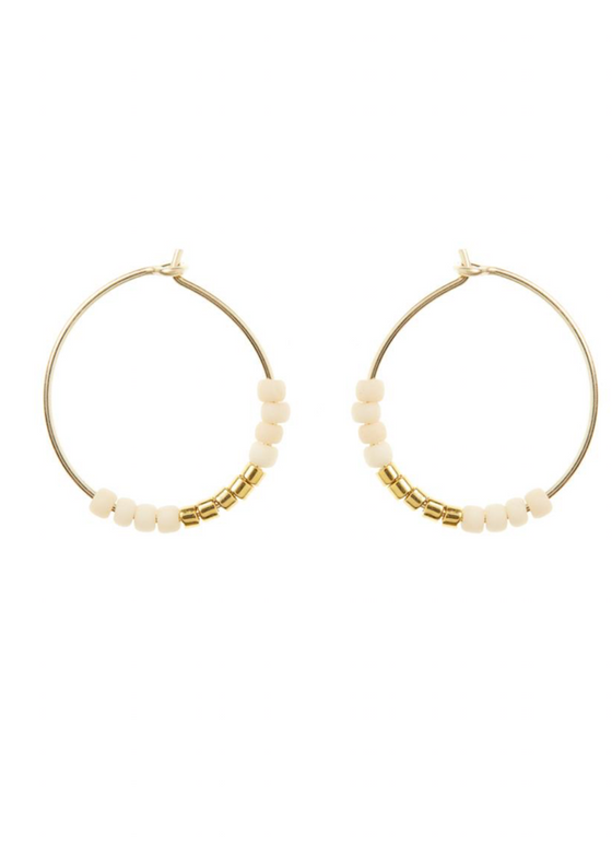 Sidai Designs | XS Small Hoop Earrings | White + Gold