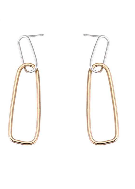 Yellow Gold + Silver Interlocking Rectangle Post Earrings