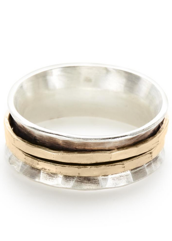 Hammered Band | Sterling Silver + Gold-Filled