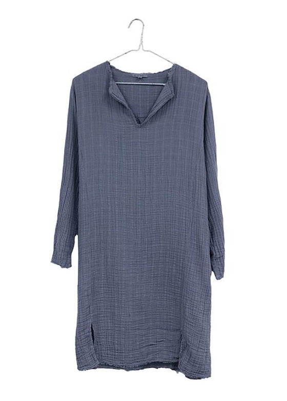 It Is Well | Split Neck Dress | Slate Blue