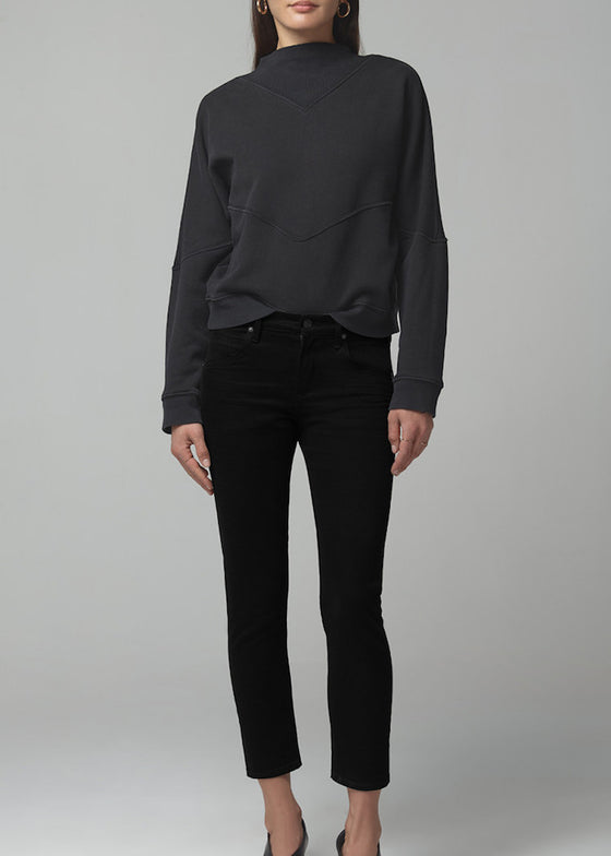 Citizens of Humanity | Elsa Mid Rise Slim Fit Crop | Sueded Black