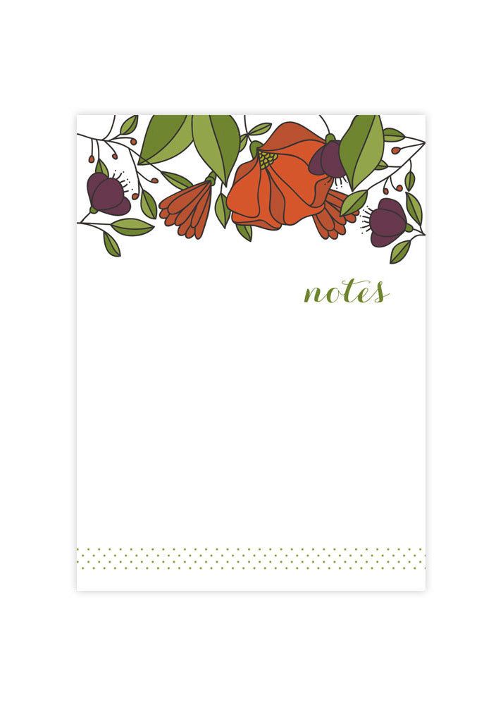 Red Florals Note Pad