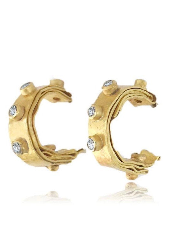 Jessica Weiss | Folded Hoops 22K Gold + Diamond