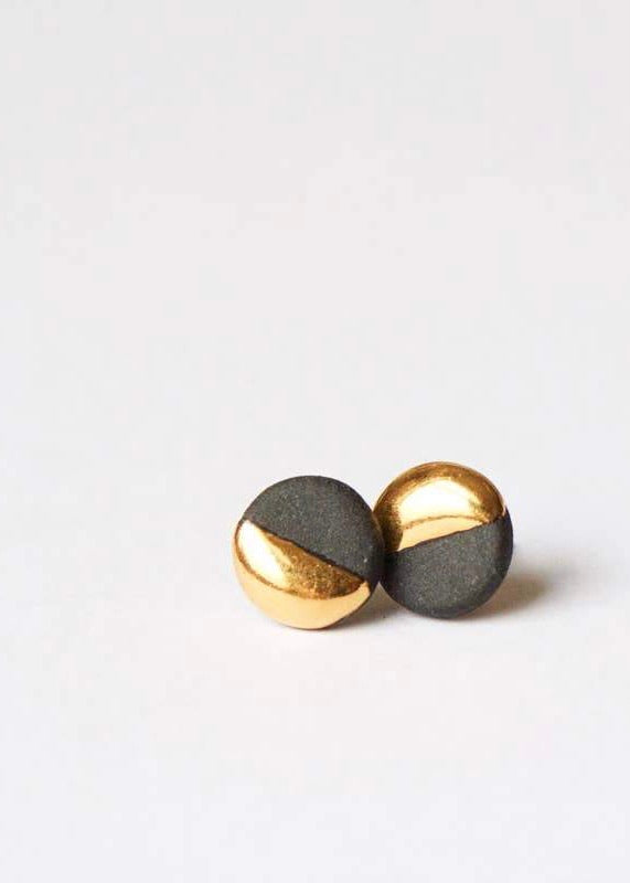 Mier Luo | Small Gold Dipped Flat Circle Studs