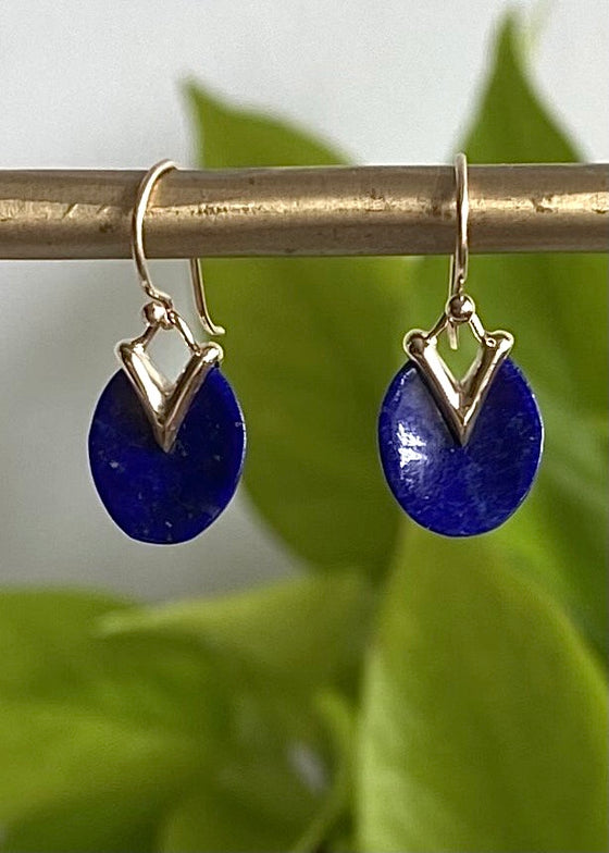 Rachel Atherley | Tiny Lily Pad Earrings in Lapis + 14kg