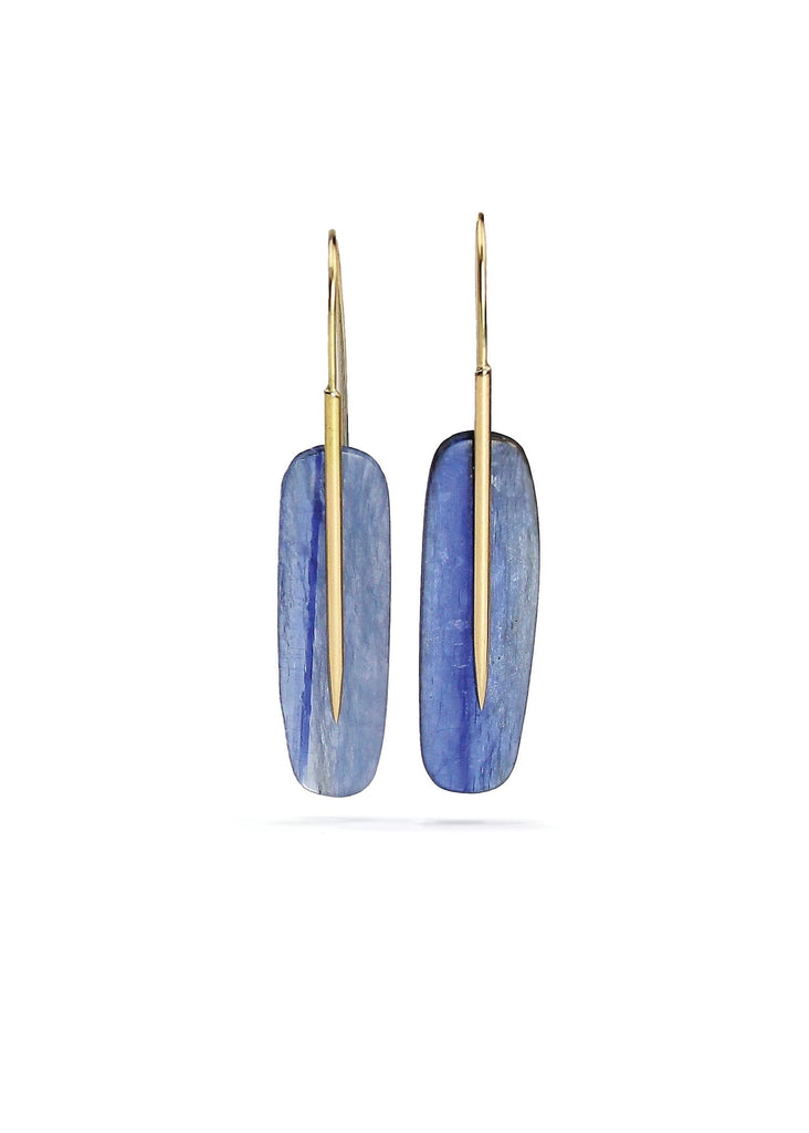 Rachel Atherley | Medium Feather Earrings in 18kg + Kyanite