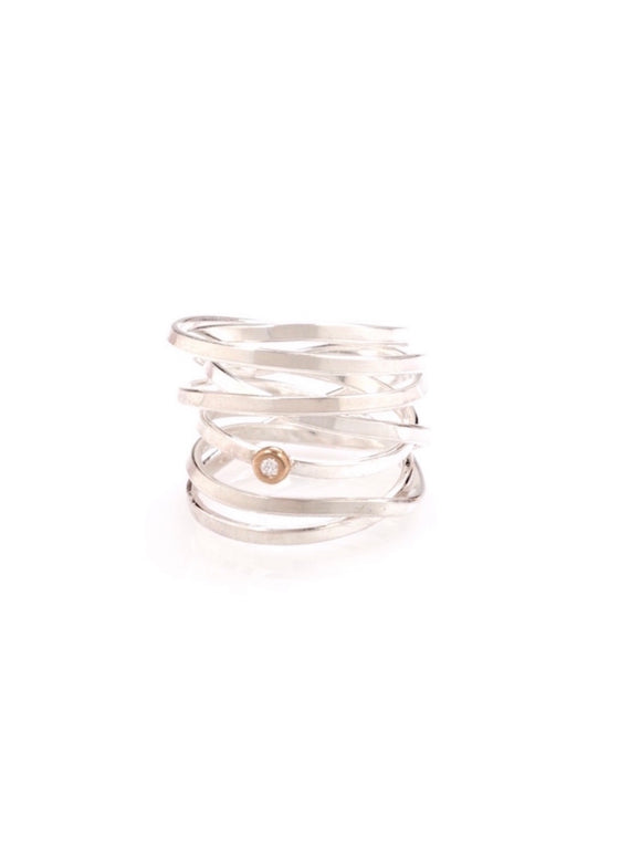 Heorth | Bound Ring | 7 Strand Sterling Silver + Diamond