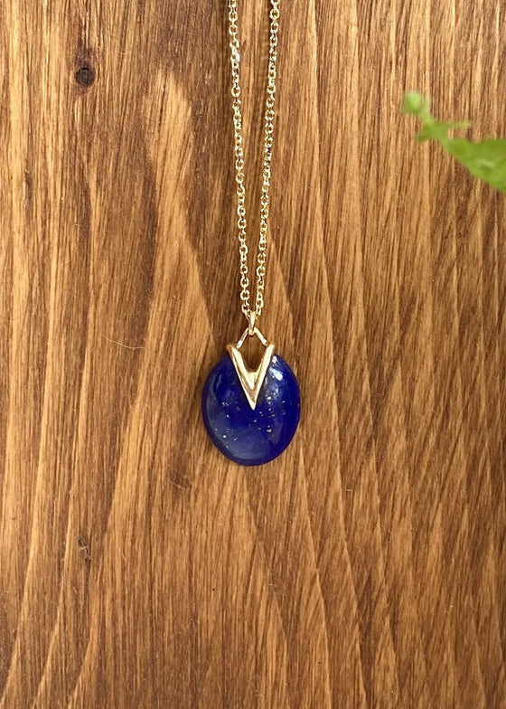 Rachel Atherley | Small Lily Pad Pendant in Lapis + 14kg