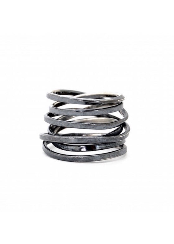 Heorth | Bound Ring | 7 Strand Oxidized Sterling Silver