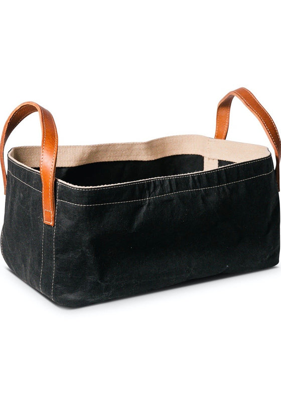 Uashmama | Paper Basket w/ Leather Handles