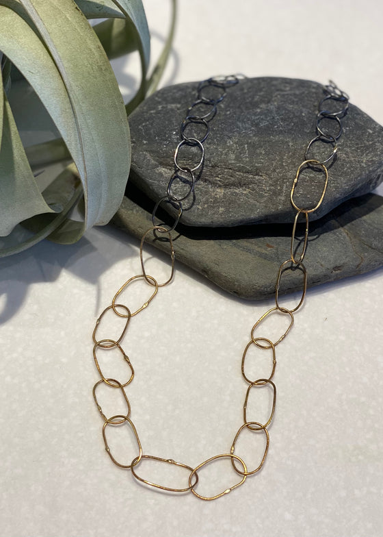 Kate Maller | Breezy Link Necklace :: 18K Gold + Oxidized Silver