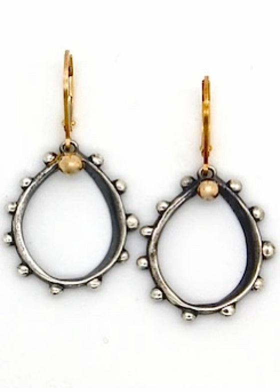 Heorth | Spot On Earrings | Oxidized Sterling Silver + 18K Gold