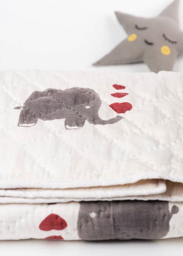 Baby Blanket | Natural Dyes & 100% Organic : Elephants with Hearts