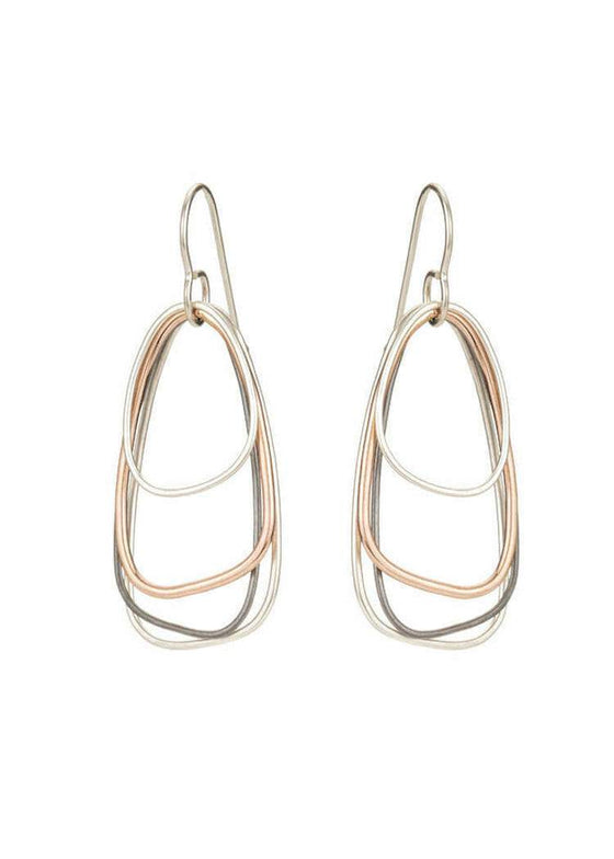 Colleen Mauer | Tri-Toned Multi-Triangle Earring | Rose Gold + Silver + Oxidized Silver