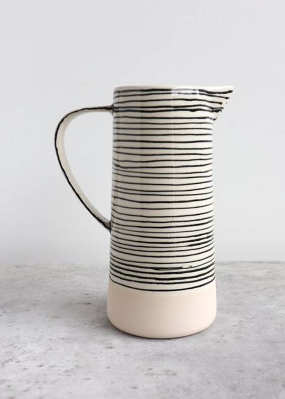 Elizabeth Benotti Ceramics | Striped Pitcher | Blush