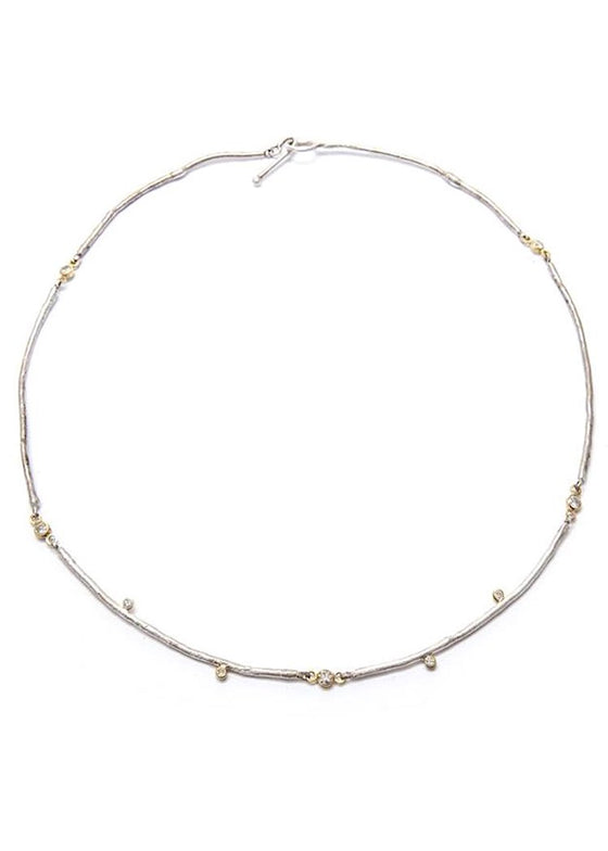 Jessica Weiss Studio | Twig Necklace | Silver + Gold + Diamond
