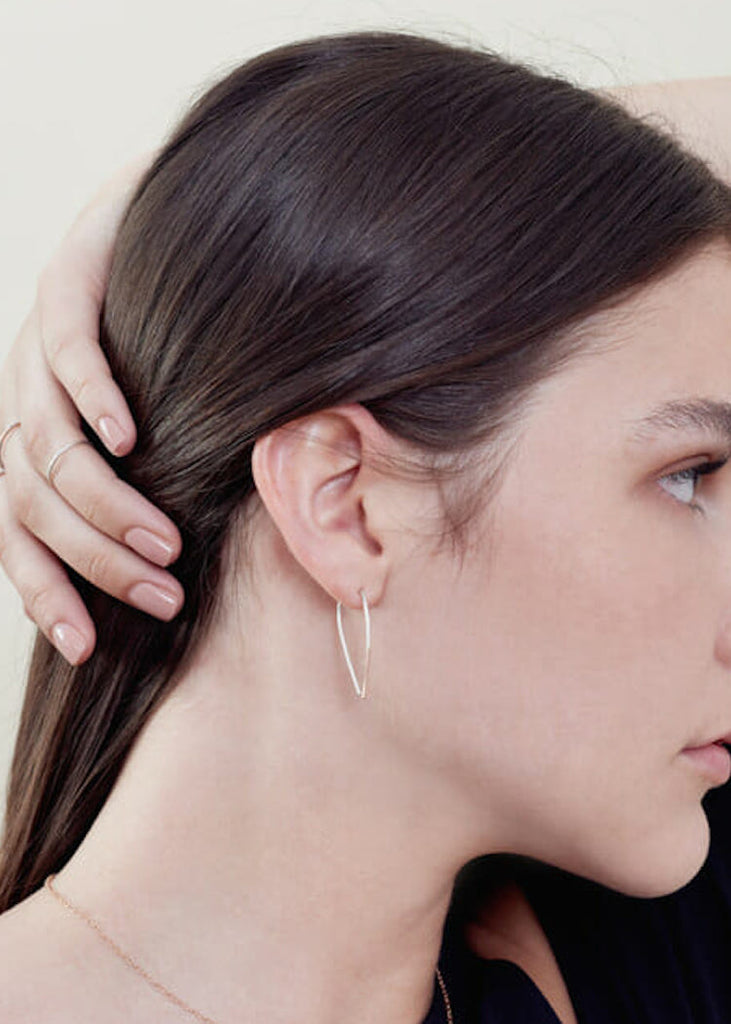 Colleen Mauer | Teardrop Pull-Through Earrings | Silver + Gold