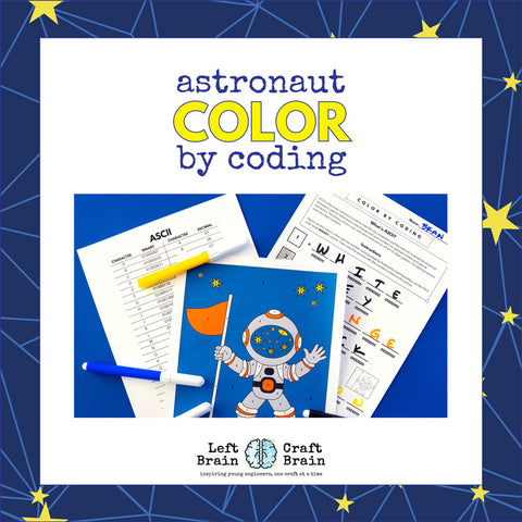 Astronaut Color by Coding Coloring Page
