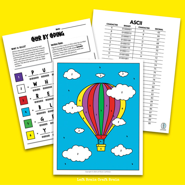 Hot Air Balloon Color by Coding Coloring Page