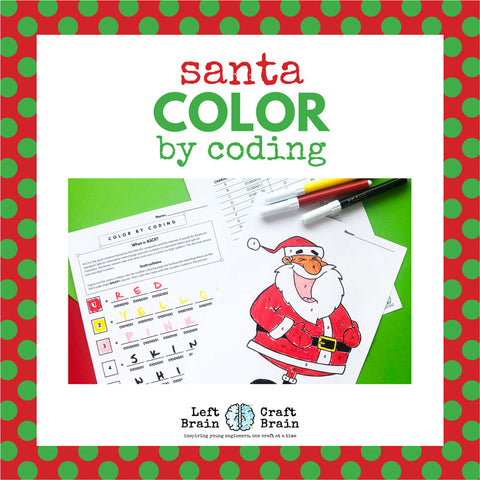 Santa Color by Coding Coloring Page