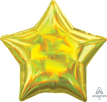 19S HOLO IRIDESCENT YELLOW STAR - Mucho Globo