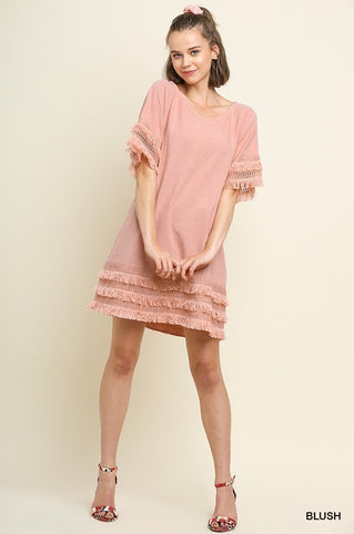 Pretty Thoughts Layered Fringe Dress In Blush
