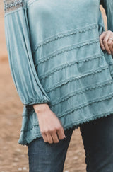 A New Wave Mesh Lace Layer Top In Sage