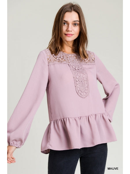 Daydreamer Peplum Top In Persian Rose