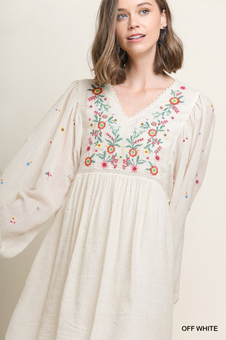 Wildflower Embroidered Babydoll Dress In Oat