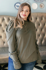 A Little Puff In Your Sleeve in Olive Top