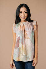 Abstract Floral Lineup Pastel Blouse