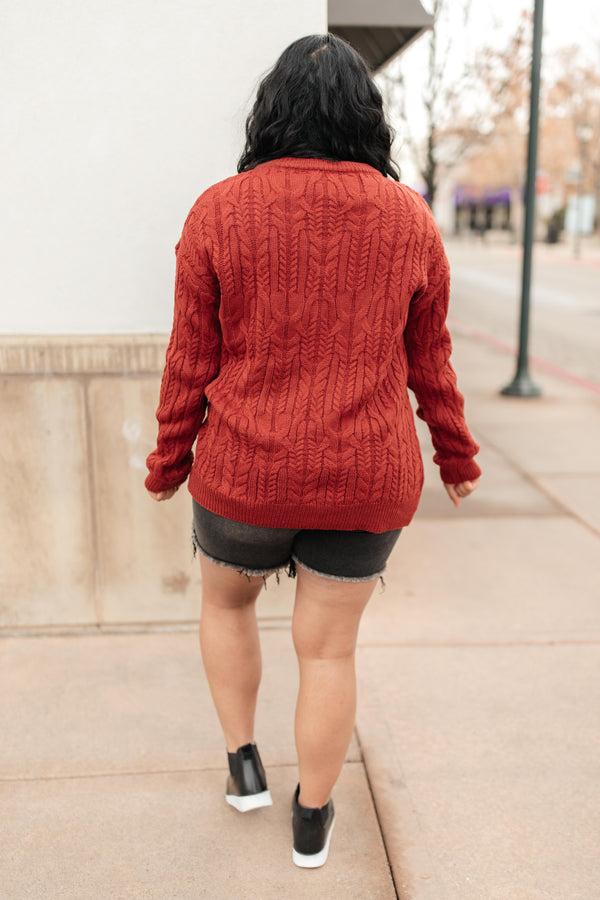 Annie Knit Top in Rust