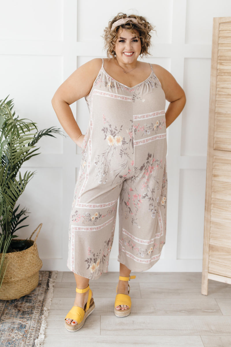 Boho Taupe Floral Jumpsuit