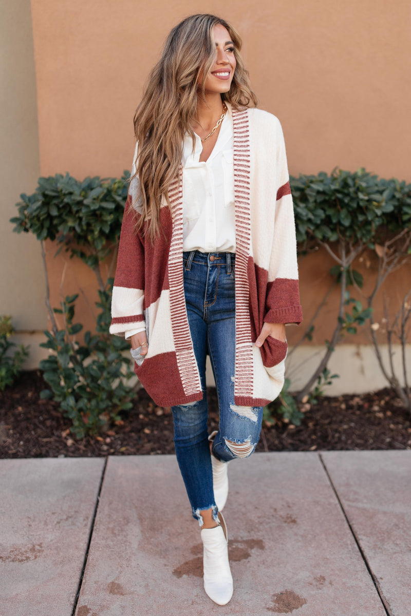 Chunky Patterns Cardigan in Rust