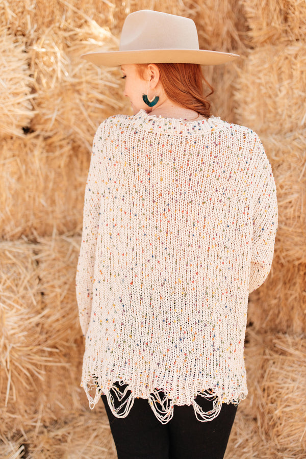 Dusted With Colors in Cream Sweater