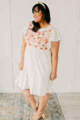 Embroidered Coral Floral Dress