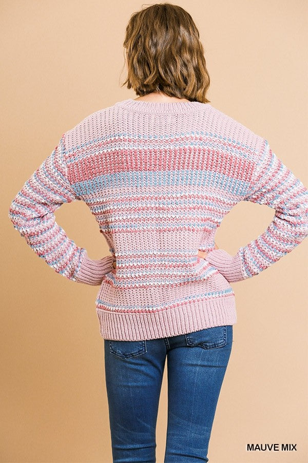 In The Clouds Multicolored Stripe Knit Sweater