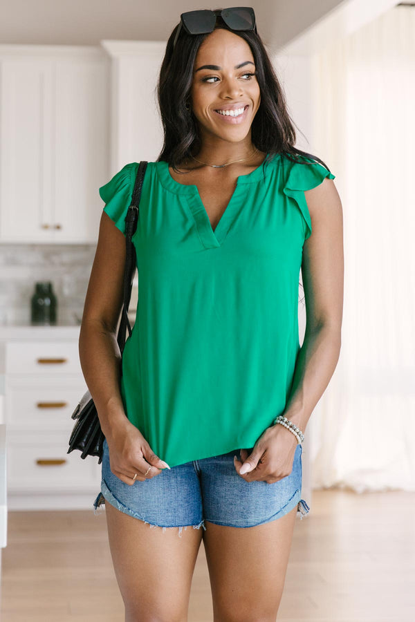 Fantastic Ruffle Sleeve in Kelly Green Top
