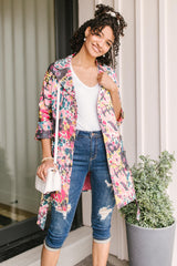 Floral Whimsy Trench Coat