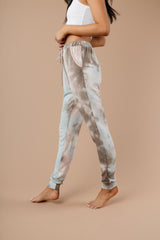 Forgotten Dreams Tie Dye Joggers In Taupe