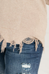 Frayed Edges Hoodie in Taupe