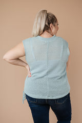 Girls Don't Sweat Sweater In Antique Blue