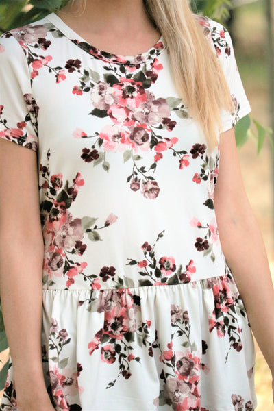 Blossom Peplum Top in Ivory