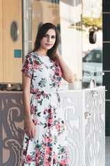Miracle Mornings Rose Midi Dress In Ivory