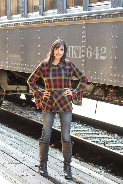Montgomery Plaid Trumpet Sleeve Peplum Top