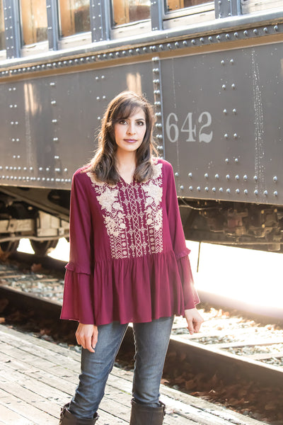 Toast Of The Town Jewel Embroidered Peplum Top