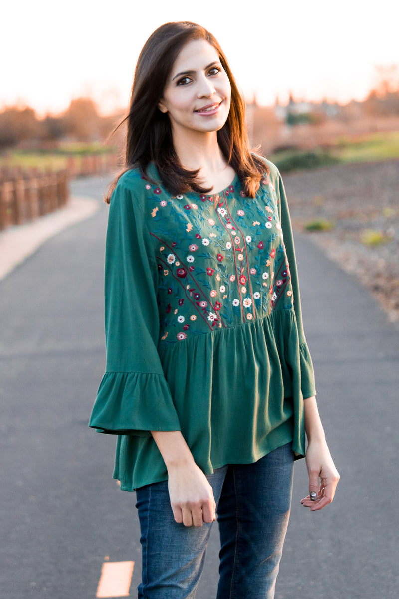 Back To Nature Babydoll Top In Forest Green