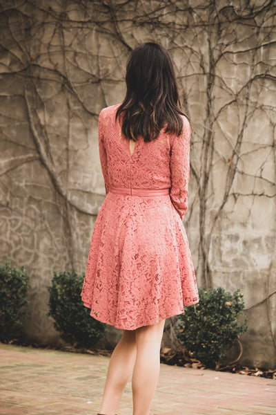 Lost In The Moment Lace Skater Dress In Rose