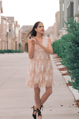 Love Story Empire Lace Dress In Almond